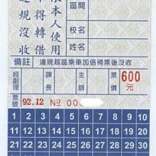 【竹仔城-台中客運公車票】市區自強號學生月票-92.12--600元---已經失效.純收藏
