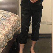 Giordano ladies 緞面輕薄黑色七分直筒褲 超顯瘦26