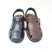 ♂️男:MIT手縫魔鬼氈牛皮氣墊護趾涼鞋(黑/咖)、真皮護趾涼鞋、氣墊牛皮涼鞋、全皮氣墊厚底鞋、台灣製造、手工縫製
