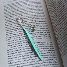 書籤加拿大代購Added㊣ 手作維多利亞藍綠夜光小蜂鳥羽毛復古書簽