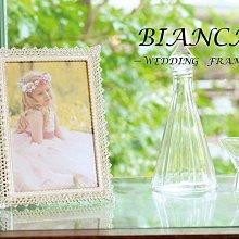 日本KISHIMA BIANCA蕾絲邊角雙鑽 4X6金屬結婚相框 /KP-31341/ LADONNA婚禮.結婚佈置