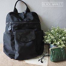 Black Market。經典熱賣全黑防潑水耐用多隔層側邊可放瓶水拉鍊後背包 EN002(預購)