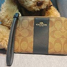 (雅峰精品) COACH 58035-IMDT3卡其 PVC+深藍色皮革材質手拿包 零錢包