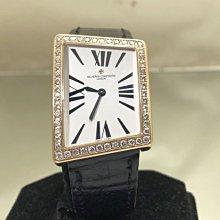 順利當舖 Vacheron Constantin/江詩丹頓 原裝大型款18k特殊斜邊四方形機械男錶