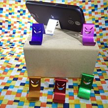 鋁合金手機支架/小惡魔笑臉造型/輕輕鬆鬆手機看影片.電影.影集.用餐時可用(六個一組,隨機發顏色)