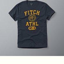Maple麋鹿小舖 Abercrombie&Fitch*AF 藍灰色貼布電繡徽章短T*( 現貨XL號 )