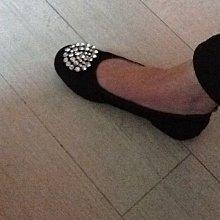 精品黑色平底鞋 娃娃鞋 包鞋 亮鑽 絲絨 鬆緊帶 淑女鞋 懶人鞋 抓鑽