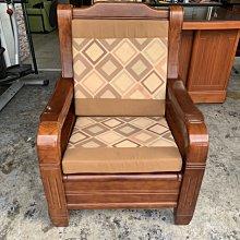 香榭二手家具*全實木 一人座沙發椅(附坐墊靠墊)-單人座沙發椅-原木椅-主人椅-實木椅-房間椅-木頭椅-中古沙發-2手貨