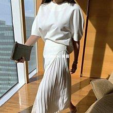 韓國chic法式優雅圓領五分泡泡袖襯衫+高腰側邊百褶半身裙長裙女-NIJIANG小妮醬