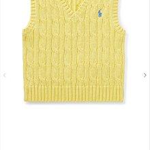 Ginny媽咪【Ralph Lauren Polo】官網正品 小童經典麻花針織背心繡小馬深藍色 鵝黃色 24M 現貨