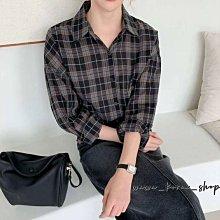 正韓:格子襯衫上衣(2色)