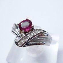 【連漢精品交流中心】《天然紅寶石 39分 》18白K金設計款 紅寶石鑽戒 (女戒)