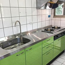 名雅歐化廚具217公分不鏽鋼檯面+下櫃ST桶身+四面美耐門板