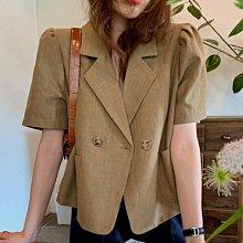 新品特價至6/22調回原價780小外套 復古小翻領泡泡袖透氣棉麻西裝外套 艾爾莎【TAE8832】