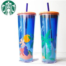 美國購入 starbucks 星巴克  2020  棕櫚樹 熱帶夏季 夏日海灘 冷水杯 冷飲杯 隨行杯 附吸管