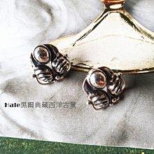 黑爾典藏西洋古董 ~純銀 純925銀 古董藤蔓雙翼純銀耳環~韓國時尚首爾穿搭珠寶盒
