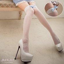 絲襪 白色素面薄絲襪 格子蝴蝶結膝上襪-愛衣朵拉L073