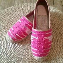 全新無盒轉賣 粉紅 羊皮粗帆布混搭 手工縫線設計 休閒鞋 草編鞋 懶人鞋 漁夫鞋 7號38號 版小 約37號適合