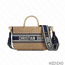 【WEEKEND】 DIOR Wicker Basket Oblique 草編 手提 肩背包 托特包 藍色
