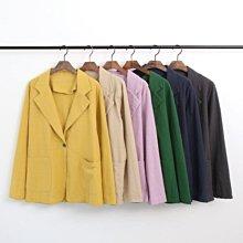 韓國代購薄款西裝外套開襟外套 春夏涼爽透氣薄款棉麻罩衫西裝外套 艾爾莎 【TLS00306】