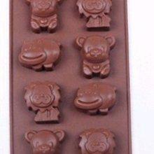 矽膠軟模具 情人節DIY巧克力模具/模板/模版/布丁/手工皂 12連 冰塊卡通狮子河馬(顏色:咖啡)