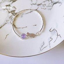 【貓咪◎純銀手鍊】925純銀 薰衣草紫水晶 貓咪玩球手鍊《含開光》