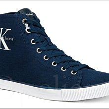 CK Calvin Klein 卡文克萊海軍藍色高筒帆布鞋懶人鞋休閒鞋 9 號 10.5號 11號 愛Coach包包