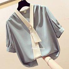 *Angel  Dance*雪紡短袖上衣(3色)@韓國 法式 時尚氣質 V領 珍珠扣 套頭 寬鬆 顯瘦@現貨+預購