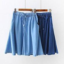 BEFE*時尚精品 舒適天絲 寬鬆口袋 鬆緊腰牛仔闊腿五分褲 褲裙  藏大腿顯瘦百搭S~2XL