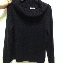 義大利品牌PESCE厚織黑色翻領鬆高領長袖100%cashmere 喀什米爾毛衣