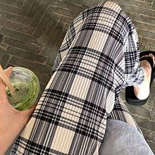 Black Market 實拍褶皺高腰直筒寬鬆夏薄款韓版休閒格子褲(預購)