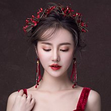 解憂zakka~ 新娘頭飾結婚紅色發飾邊夾套裝2019新款婚紗禮服超仙敬酒服配飾品#頭飾#髮飾
