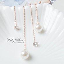 LilyStar.百變珍珠鋯石耳線耳環 【YL1245】新增銀色