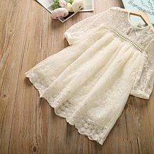 【溜。溜。選物】女童精緻繡花蕾絲中袖公主裙洋裝