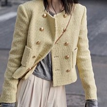 【妖妖代購】Celine 新款金屬雙排釦口袋編織外套