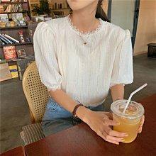 Maisobo 韓 春夏 氣質純色蕾絲波浪邊短袖上衣 TO2-887 預購