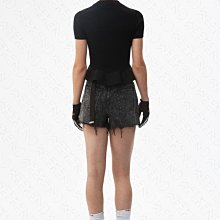 【WEEKEND】 ALEXANDER WANG Mock 針織 合身 荷葉下擺 短袖 上衣 黑色 19春夏