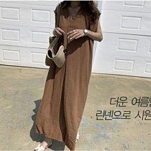素面洋裝 寬鬆慵懶簡約風棉麻大V小包袖連身裙 艾爾莎【TAE8388】