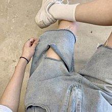 超大碼破洞牛仔短褲女夏季新款設計感小眾寬松高腰直筒五分褲