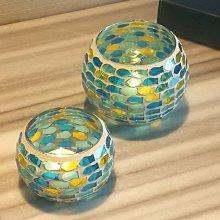 熱銷#地中海蘭色魚群套二馬賽克玻璃茶蠟燭臺浪漫燭光晚餐裝飾#燭臺#裝飾
