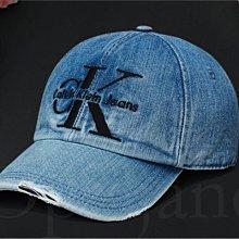 Calvin Klein 卡文克萊大CK 藍色 牛仔布刷破單寧棒球帽子 鴨舌帽 防曬遮陽帽 高爾夫球帽 愛Coach包包