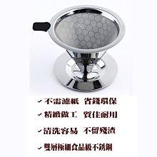 304 (18-8) 雙層不銹鋼蜂巢式手沖咖啡濾網濾杯 1-2 人份 免濾紙 可拆式多用途 適用各種杯口與壺具