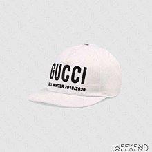 【WEEKEND】 現貨 GUCCI Logo 刺繡 休閒 棒球帽 鴨舌帽 帽子 白色 596211 S