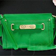 100%真品保證 Coach 53032 Leather 綠色荔枝紋真皮小斜背包 手拿包 兩用包 iCoachBag