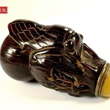 ﹣﹦≡ 璟藏古玩 晚清.天然角雕葫蘆金蟬鼻煙壺∥(不設底價)∥≡ ﹦﹣
