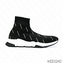 【WEEKEND】 現貨 BALENCIAGA Speed 巴黎世家 滿版logo 休閒鞋 襪套鞋 黑色 36/37號