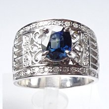【連漢精品交流中心】《天然藍寶石 1.55CT 》14白K金設計款奢華 藍寶石鑽戒 (中性戒)