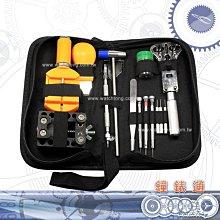 【鐘錶通】 實用工作包13件鐘錶工具組 /開錶換帶常用工具/ 送汰換針頭3支+錶布一條├修錶手錶工具/開錶換電池┤