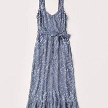 Maple麋鹿小舖 Abercrombie&Fitch * AF 藍色V領點點綁帶長洋裝 * ( 現貨XS號 )