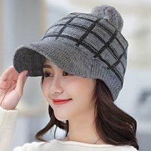 Oria秋冬造型必備單品 Q229-2 格線針織球球蓋帽-灰色款